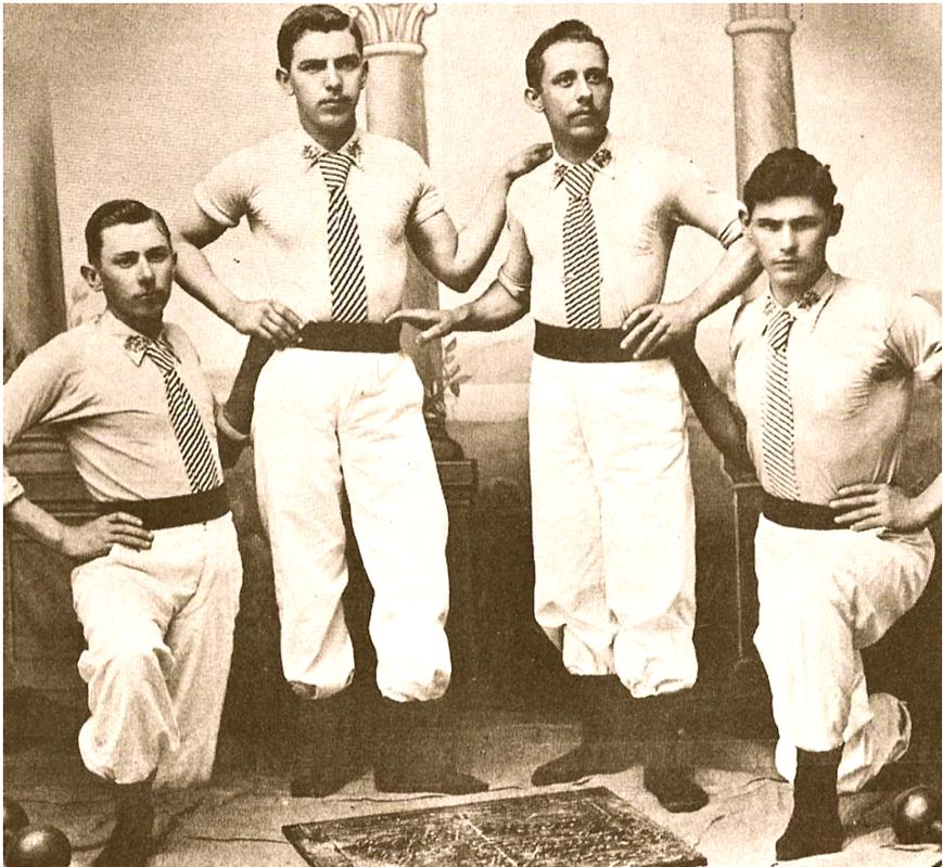 Ginastas alemães em 1900 (foto do Livro Colônia Alemã, imagens do passado, de Telmo Lauro Muller)