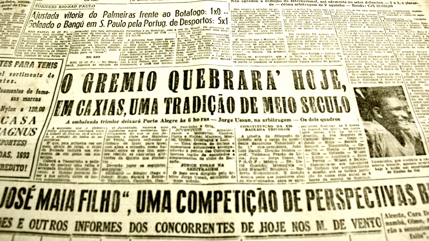 Contra o Juventude, em Caxias do Sul, Tesourinha quebrou meio século de tradição. (CORREIO DO POVO, 16/03/1952)